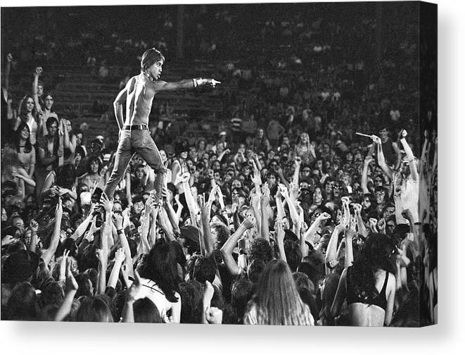Crowd Canvas Print featuring the photograph Iggy Pop Live by Tom Copi
