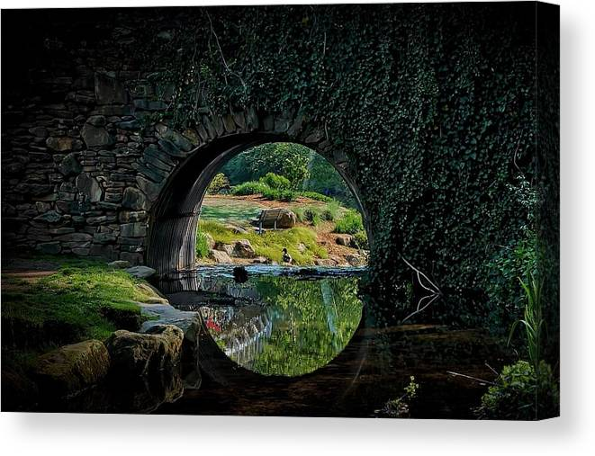 Bridge Canvas Print featuring the photograph In the Middle of A Reflection by Zayne Diamond Photographic