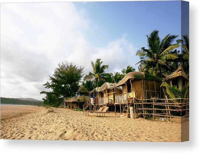 Scenics Canvas Print featuring the photograph India, Goa, Beach Huts On Agonda Beach by Sydney James