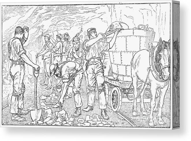 Horse Canvas Print featuring the drawing Inside A Cheshire Salt Mine, 1889 by Print Collector