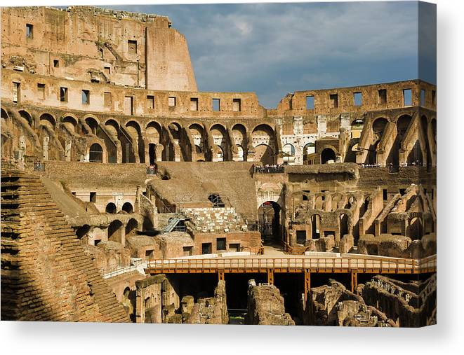 Arch Canvas Print featuring the photograph Interior Of The Colosseum, Rome, Italy by Juan Silva