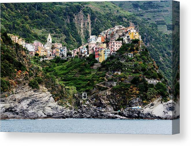 Town Canvas Print featuring the photograph Italy, Liguria, Corniglia, View From by Jeremy Woodhouse