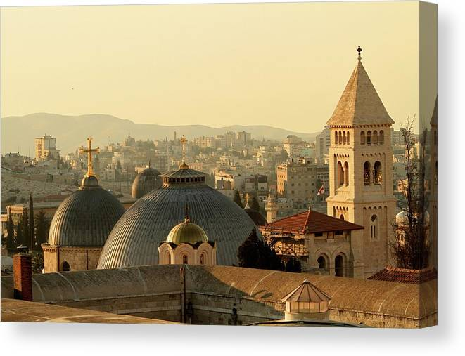 West Bank Canvas Print featuring the photograph Jerusalem Churches On The Skyline by Picturejohn