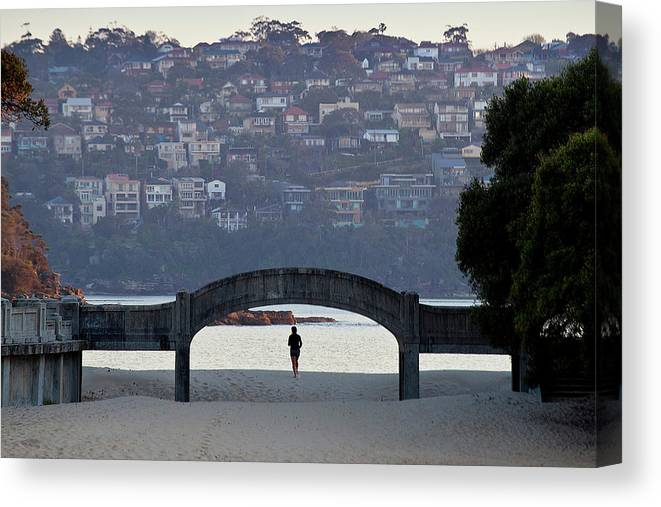 Scenics Canvas Print featuring the photograph Jogging On Balmoral Beach by Image By Erik Pronske Photography