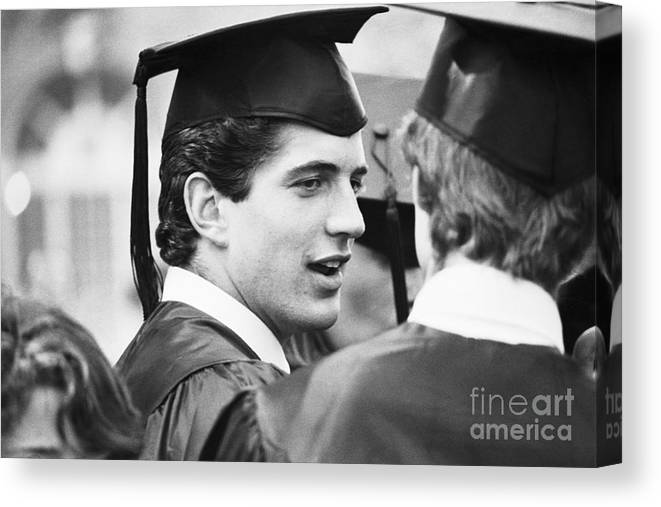 1980-1989 Canvas Print featuring the photograph John F. Kennedy Jr. At Graduation by Bettmann