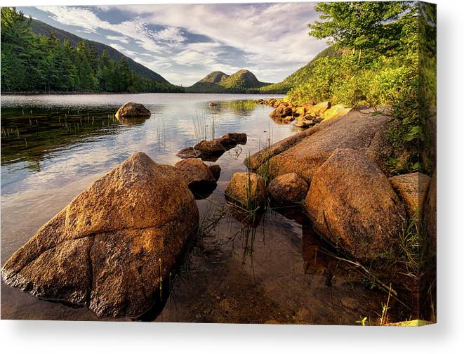 Scenics Canvas Print featuring the photograph Jordan Pond Rocks by Www.cfwphotography.com