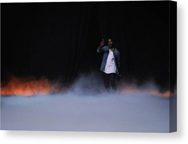 Kanye West - Musician Canvas Print featuring the photograph Kanye West Show Runway - Paris Fashion by Pascal Le Segretain
