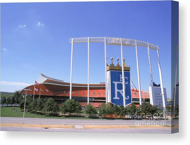 American League Baseball Canvas Print featuring the photograph Kauffman Stadium by Stephen Dunn