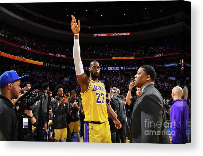 Thank You Canvas Print featuring the photograph Kobe Bryant And Lebron James by Jesse D. Garrabrant