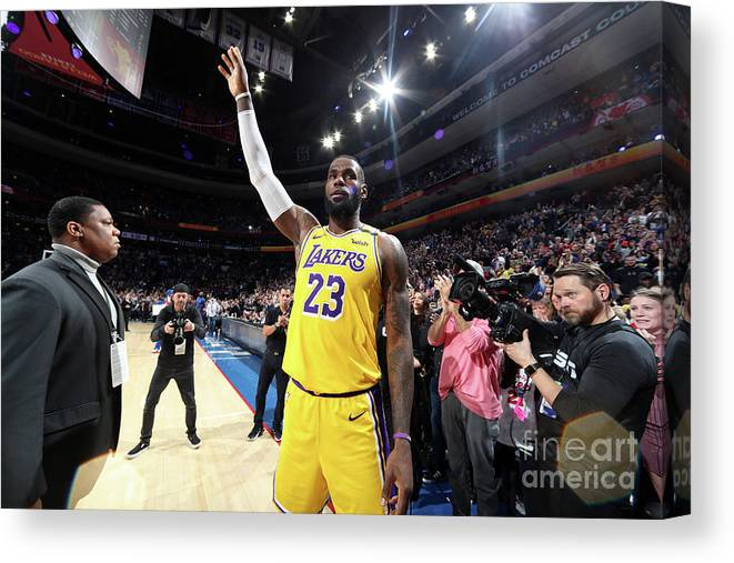 Thank You Canvas Print featuring the photograph Kobe Bryant And Lebron James by Nathaniel S. Butler