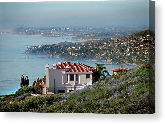 Laguna Beach Canvas Print featuring the photograph Laguna Beach Hilltop Homes by Mitch Diamond