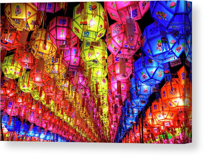 Tranquility Canvas Print featuring the photograph Lanterns Hanging by Jason Teale Photography Www.jasonteale.com