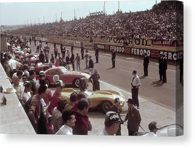Crowd Canvas Print featuring the photograph Le Mans Racing Circuit, France by Heritage Images