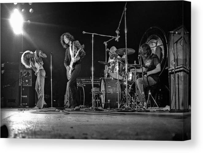 Performance Canvas Print featuring the photograph Led Zeppelin At The Forum by Michael Ochs Archives