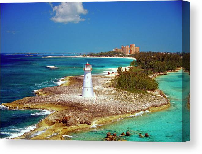 Outdoors Canvas Print featuring the photograph Lighthouse On Paradise Island-nassau by Medioimages/photodisc