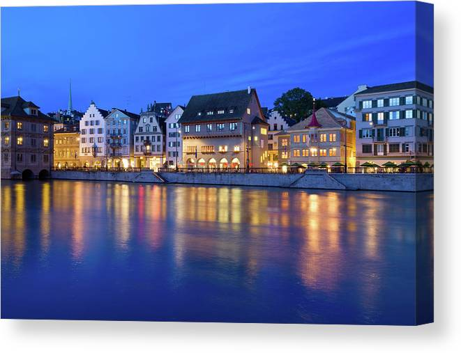 Zurich Canvas Print featuring the photograph Limmat River Waterfront In Downtown by Benedek
