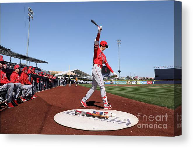 Peoria Sports Complex Canvas Print featuring the photograph Los Angeles Angels Of Anaheim V San by Christian Petersen