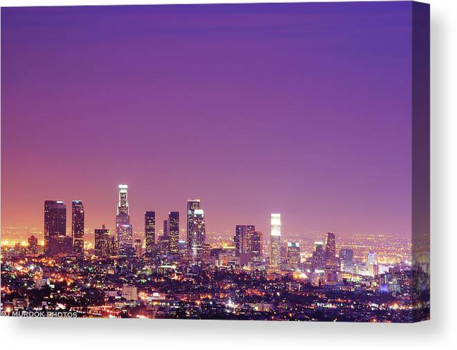 Clear Sky Canvas Print featuring the photograph Los Angeles At Dusk by Dj Murdok Photos