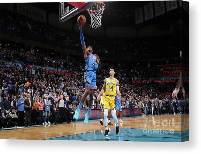 Nba Pro Basketball Canvas Print featuring the photograph Los Angeles Lakers V Oklahoma City by Joe Murphy