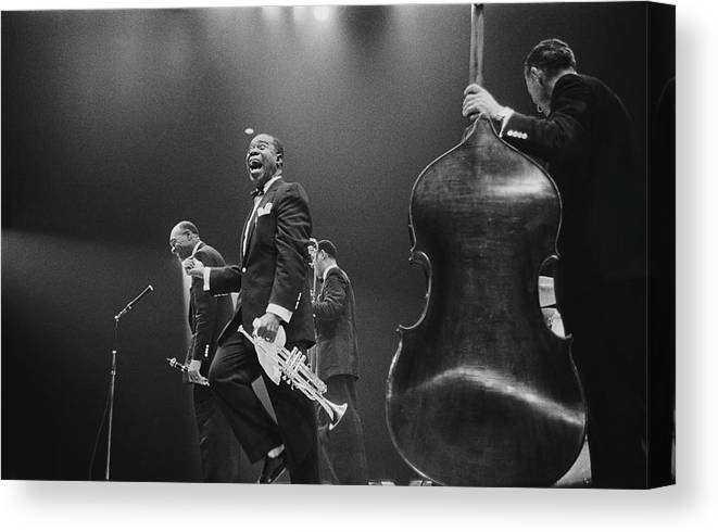 Singer Canvas Print featuring the photograph Louis Armstrong On Stage by Haywood Magee