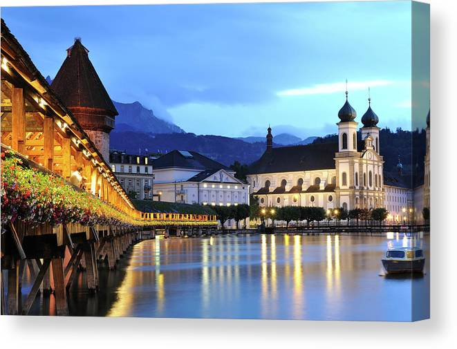 Built Structure Canvas Print featuring the photograph Lucerne At Dusk by Aimintang