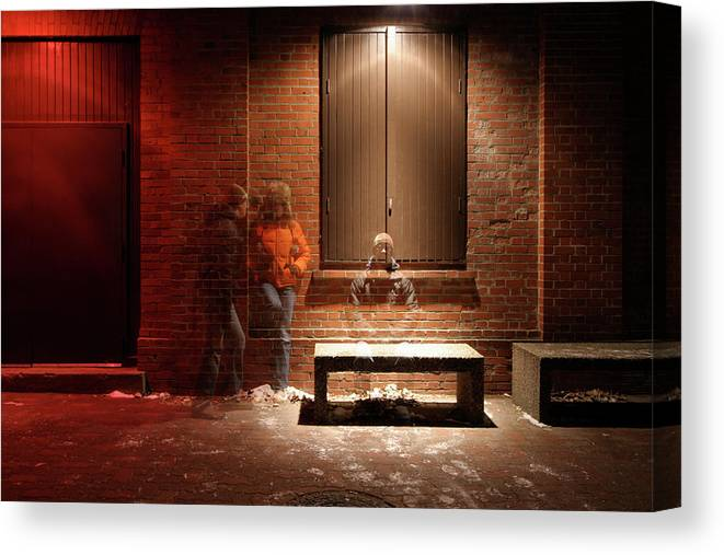 Mature Adult Canvas Print featuring the photograph Man And Woman Leaning Against A Brick by Lori Andrews