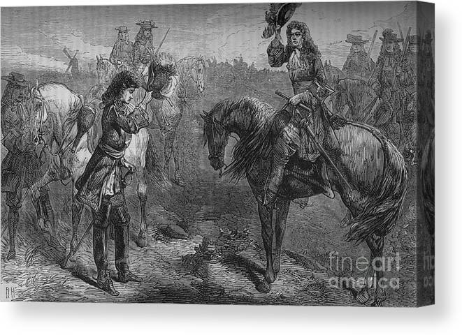 Horse Canvas Print featuring the drawing Meeting Of William IIi And The Duke by Print Collector