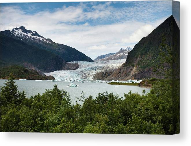 Water's Edge Canvas Print featuring the photograph Mendenhall Glacier And Bay by Blake Kent / Design Pics