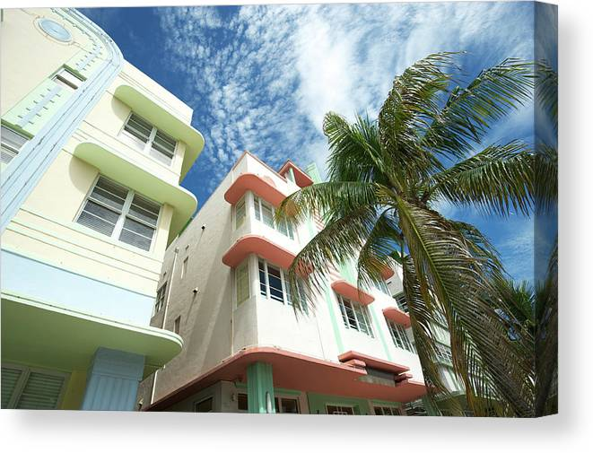 Architectural Feature Canvas Print featuring the photograph Miami Art Deco Drive Architecture Blue by Peskymonkey