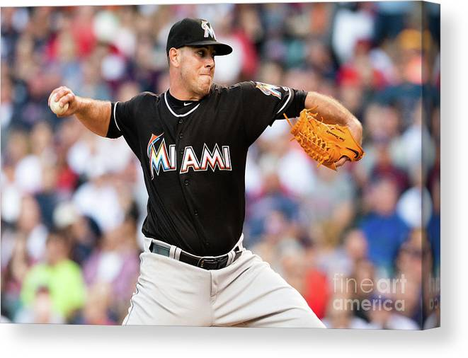 Three Quarter Length Canvas Print featuring the photograph Miami Marlins V Cleveland Indians by Jason Miller