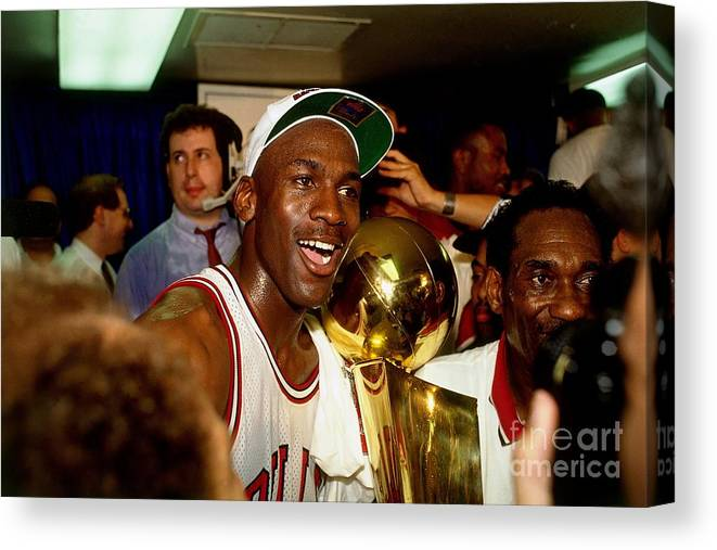 Chicago Bulls Canvas Print featuring the photograph Michael Jordan Postgame Locker Room by Nathaniel S. Butler