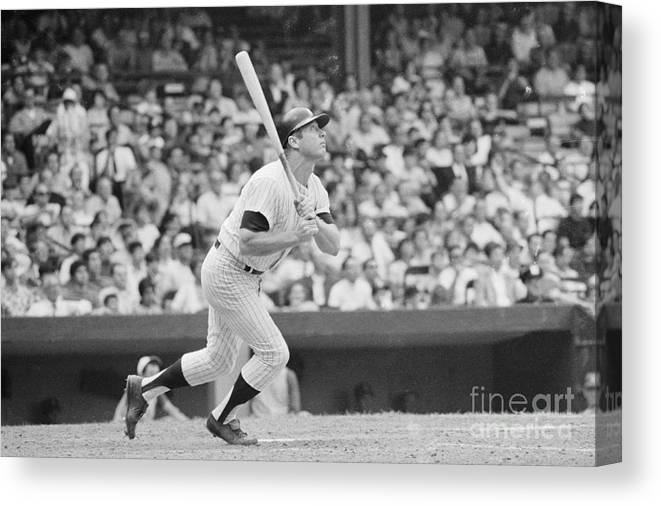 People Canvas Print featuring the photograph Mickey Mantle In Action by Bettmann