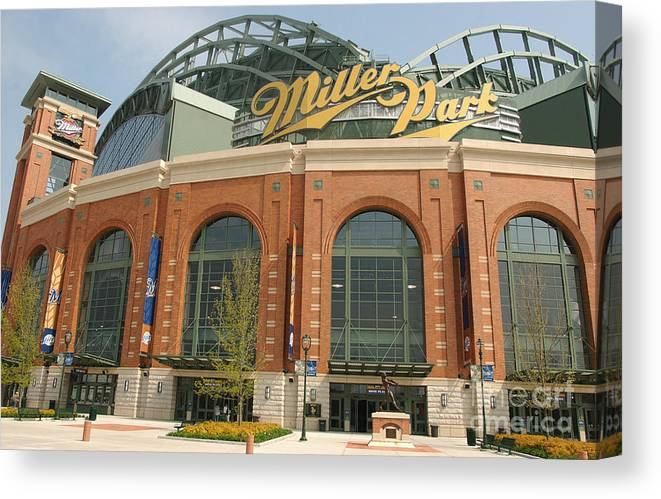 Wisconsin Canvas Print featuring the photograph Miller Park Entrance by Jonathan Daniel
