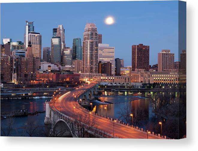 Downtown District Canvas Print featuring the photograph Minneapolis, Minnesota Skyline by Jenniferphotographyimaging
