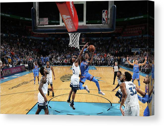 Nba Pro Basketball Canvas Print featuring the photograph Minnesota Timberwolves V Oklahoma City by Zach Beeker