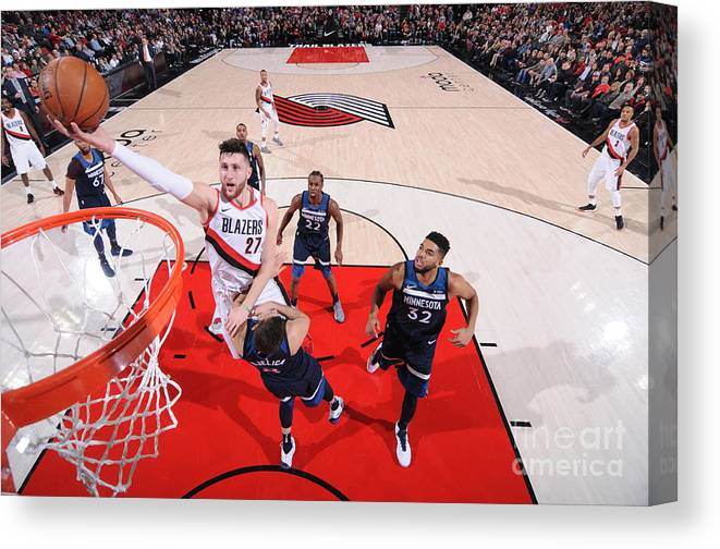 Jusuf Nurkić Canvas Print featuring the photograph Minnesota Timberwolves V Portland Trail by Sam Forencich