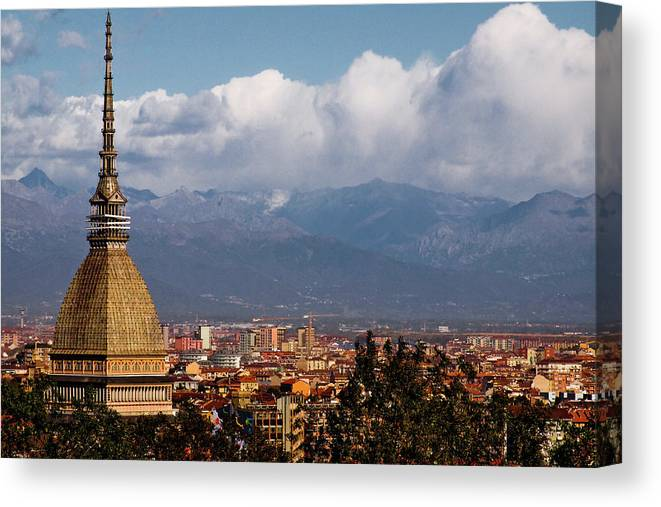 Built Structure Canvas Print featuring the photograph Mole Antonelliana, Torino And Alps by Rodolfo Rodríguez Castro