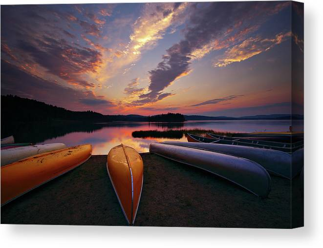 Tranquility Canvas Print featuring the photograph Morning At Lake Of The Two Rivers by Henry@scenicfoto.com