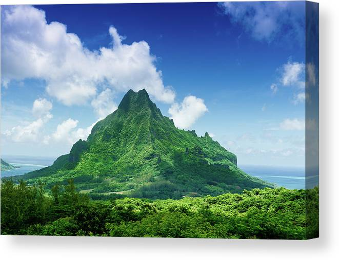 Scenics Canvas Print featuring the photograph Mount Roto Nui Volcanic Mountain Moorea by Mlenny