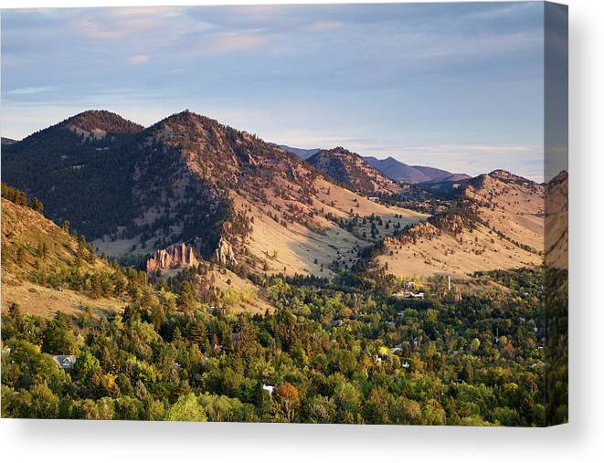 Scenics Canvas Print featuring the photograph Mount Sanitas And Fall Colors In by Beklaus
