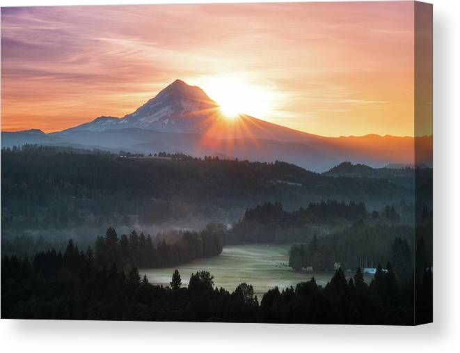 Scenics Canvas Print featuring the photograph Mt. Hood Sunrise by Andrew Curtis