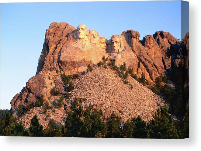 Mt Rushmore National Monument Canvas Print featuring the photograph Mt Rushmore Memorial Carvings by John Elk