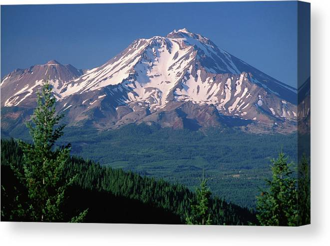 Toughness Canvas Print featuring the photograph Mt Shasta Across Lake Siskiyou, Mt by John Elk Iii