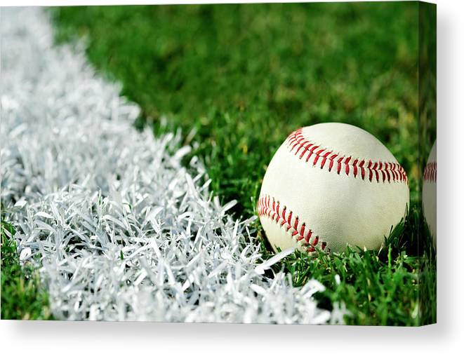Grass Canvas Print featuring the photograph New Baseball Along Foul Line by Cmannphoto