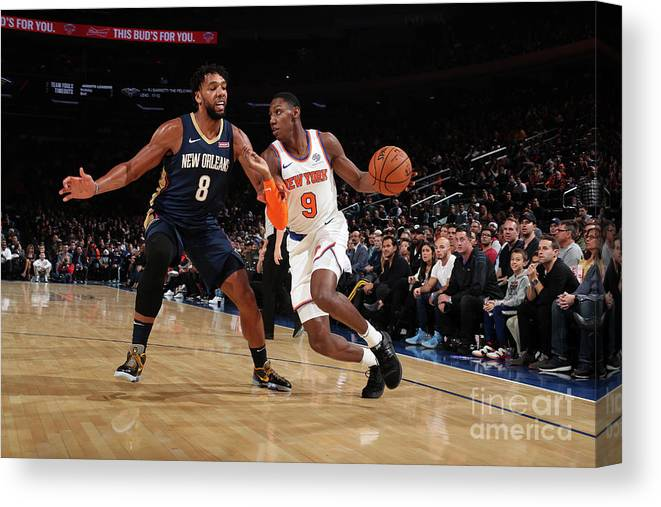 Nba Pro Basketball Canvas Print featuring the photograph New Orleans Pelicans V New York Knicks by Nathaniel S. Butler