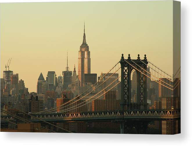 Suspension Bridge Canvas Print featuring the photograph New York City Cityscape Sunrise by Cribbvisuals