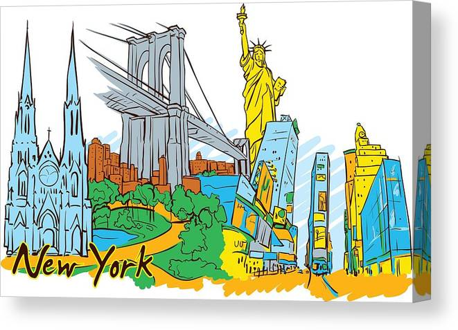 Drawings Canvas Print featuring the digital art New York City In Vector by Stanley Mathis