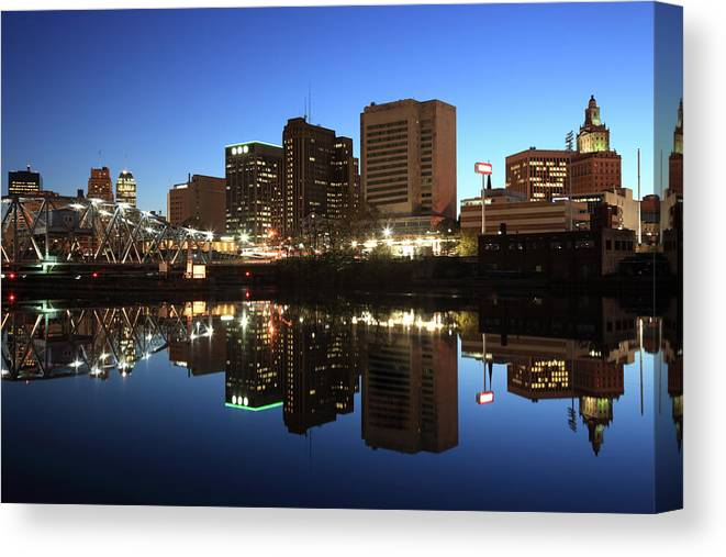 Clear Sky Canvas Print featuring the photograph Newark, New Jersey by Jumper