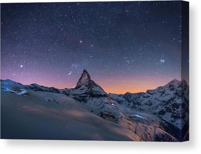 Night Winter Landscape Of Matterhorn Canvas Print Canvas Art By Coolbiere Photograph