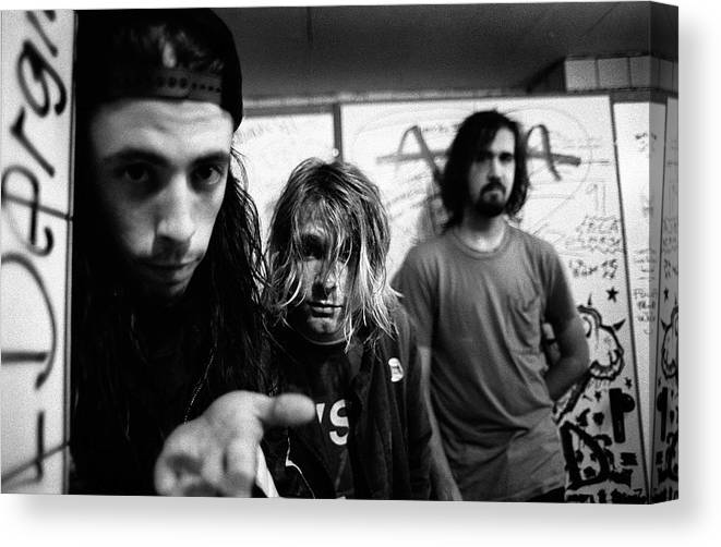 Music Canvas Print featuring the photograph Nirvana Posed In Frankfurt 1991 by Paul Bergen